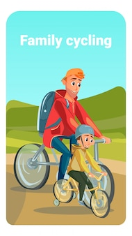 Family cycling cartoon father bike son bicycle