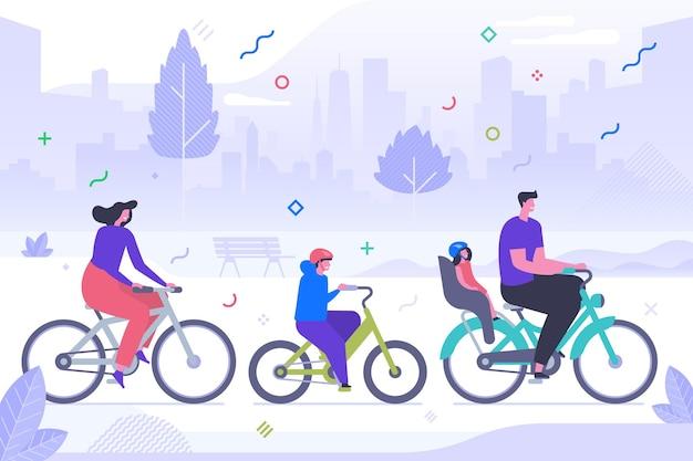 Семья на велосипеде плоские векторные иллюстрации. счастливая мать, отец и дети мультипликационных персонажей. активный отдых, спортивный отдых, здоровый образ жизни. активный отдых на свежем воздухе, родители и дети катаются на велосипедах