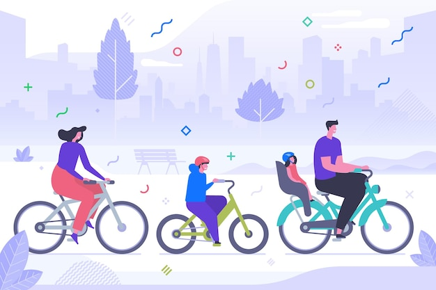 Family cycling flat vector illustration. happy mother, father and children cartoon characters. active rest, sport recreation, healthy lifestyle. outdoor activity, parents and kids riding bicycles