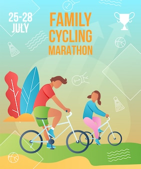 Family cycling marathon poster template. gradient cartoon flat characters