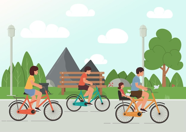 Family cycling in the park, family outdoor activity  illustration