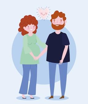 가족 아빠와 임산부 함께 만화 캐릭터 사랑 로맨틱 하트