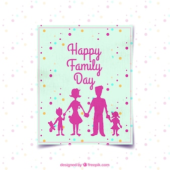 Family day card with silhouettes