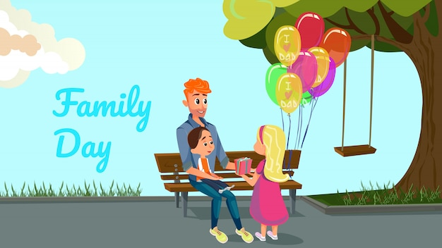 Family day cartoon man boy and girl in park