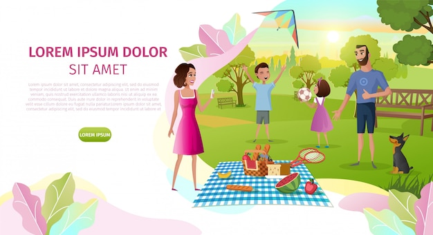 Family day cartoon vector landing page template