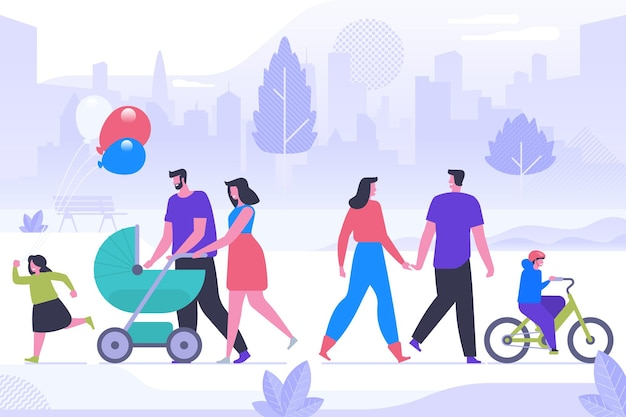 Family day celebration flat vector illustration. happy young couples and children cartoon characters. cheerful parents with kids spend time together. holiday activity, outdoor stroll in park