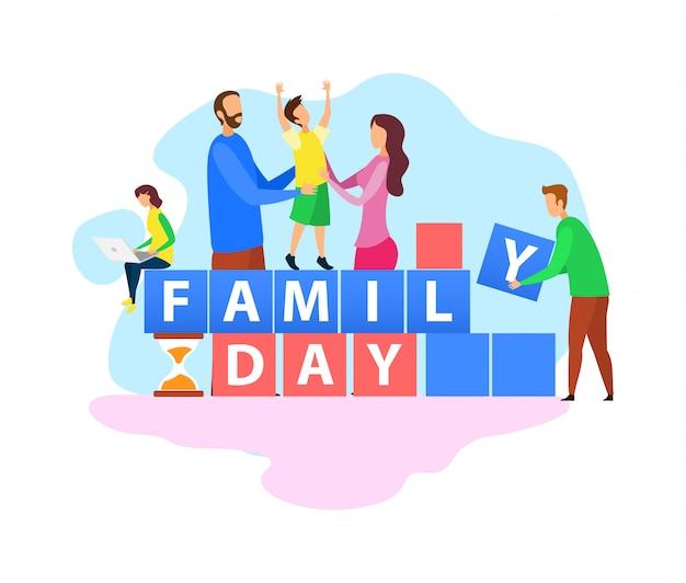 Празднование дня семьи плоский слово концепция баннер