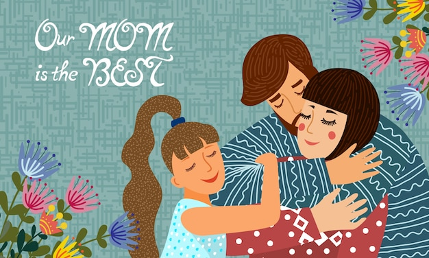 Family day. cute flat cartoon father, mother and daughter with flowers and text. horizontal