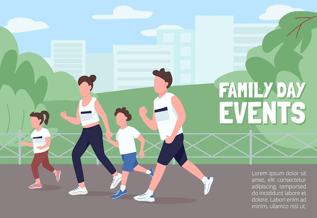 Family day events poster flat  template. parents, children run marathon. participate in race. brochure, booklet one page concept design with cartoon characters. healthy activity flyer, leaflet