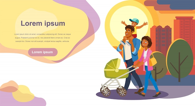 Family day out cartoon vector landing page