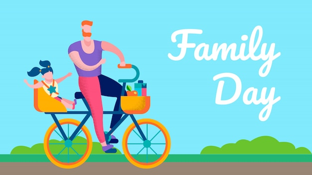 Family day outdoors motivational flat text banner