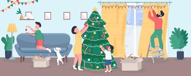 가족은 크리스마스 트리 세미 평면 그림을 장식합니다. 새해 전야 집