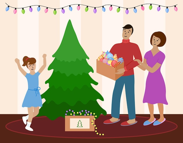 Family decorates christmas tree together mom dad and daughter going to prepare for celebration
