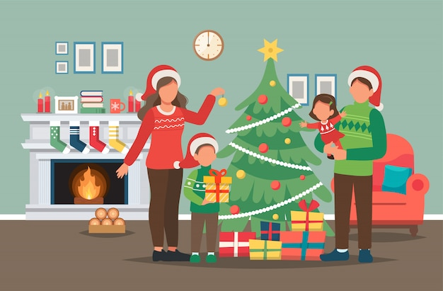 Family decorating christmas tree at home illustration