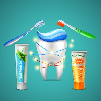 Family dental care realistic composition with shining tooth toothbrushes menthol and orange flavor toothpaste tubes