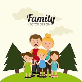 Family design over beige background