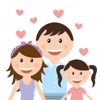 白い背景のベクトル図の上の家族のデザイン