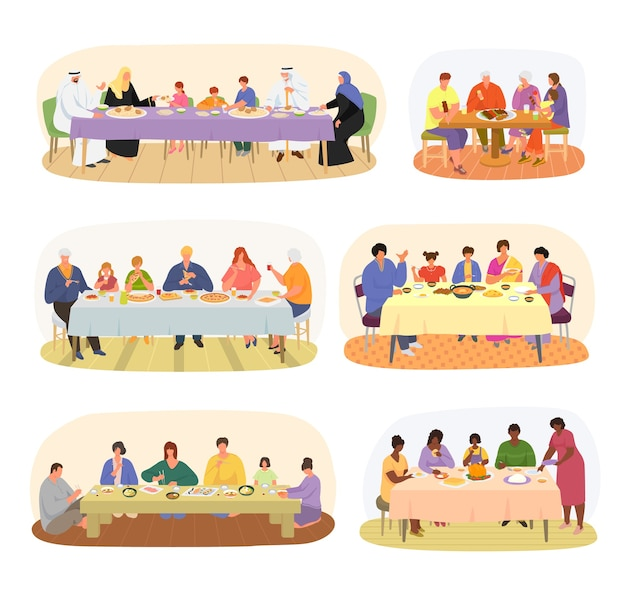 Family dinner, different nationality families sitting at dining table set of