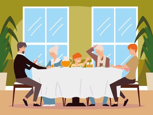 テーブルイラストで家族の夕食、父、母、息子、祖母