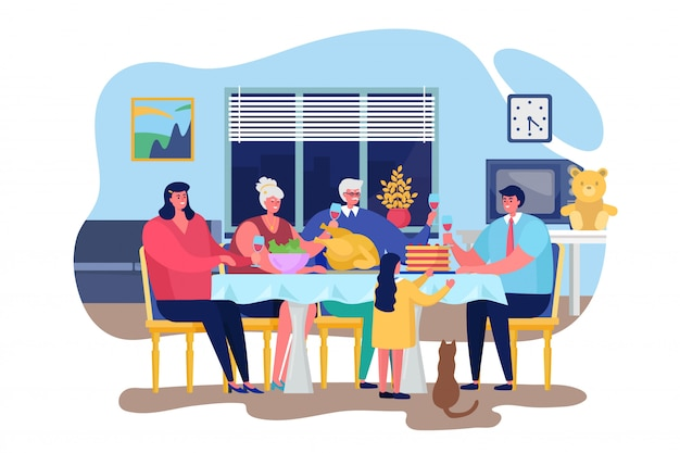 Family dinner  illustration, cartoon  happy people dining together in living room home interior, thanksgiving celebrating dinner