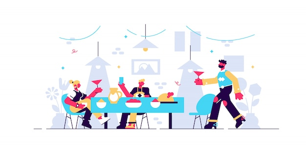 Family dinner  illustration.  tiny together eating persons concept. parents and children with delicious and healthy food dish from kitchen cook. happy, sincere and warm feeling scene at home