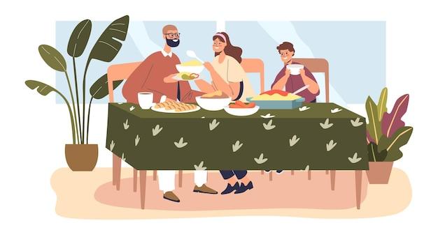 가족 저녁 식사: 테이블에 있는 부모와 소년은 함께 식사를 합니다. 집에서 먹는 엄마, 아빠, 아이