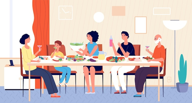 Family dinner. people eating, house holiday meals. dining or living room, man woman kids sitting at table