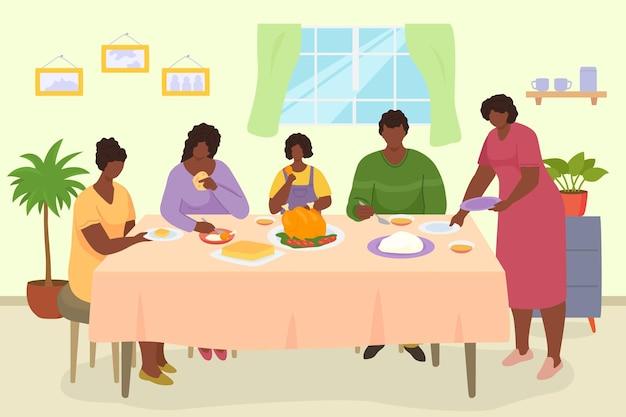 가족 저녁 식사 벡터 일러스트 레이 션 사람들 남자 여자 캐릭터는 함께 테이블에서 식사를 어머니 아버지...