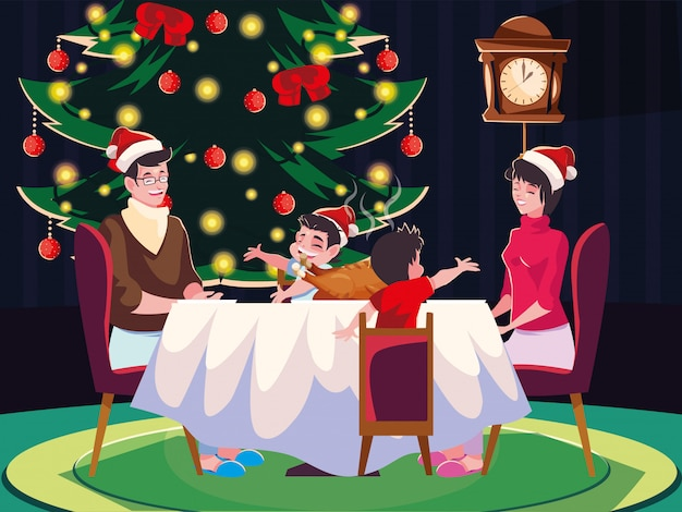 Family in dinning room, christmas evening scene