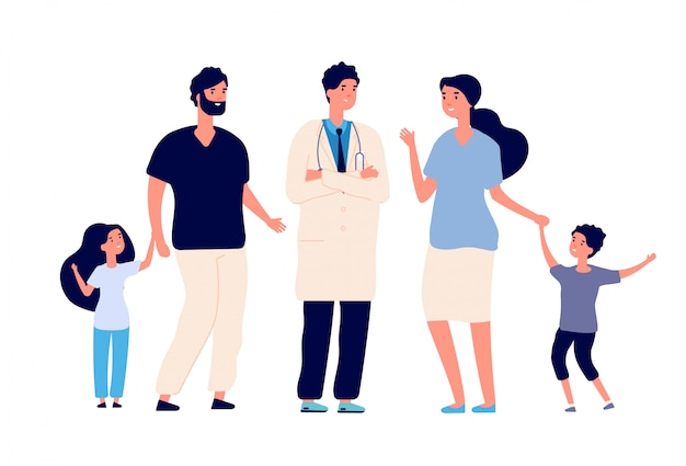 집에 방문하는 의사. 치료사와 함께 큰 건강한 가족. 부모 아이 환자와 의사. 의료 및 치과 서비스 벡터 개념