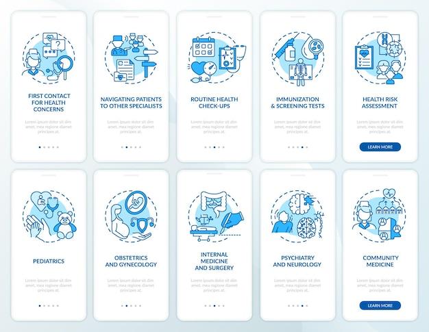 コンセプトが設定されたかかりつけ医の青いオンボーディングモバイルアプリページ画面。ヘルスケアのチュートリアル5ステップのグラフィックの説明。線形カラーイラスト付きのui、ux、guiテンプレート