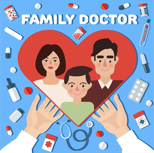 Family doctor concept banner