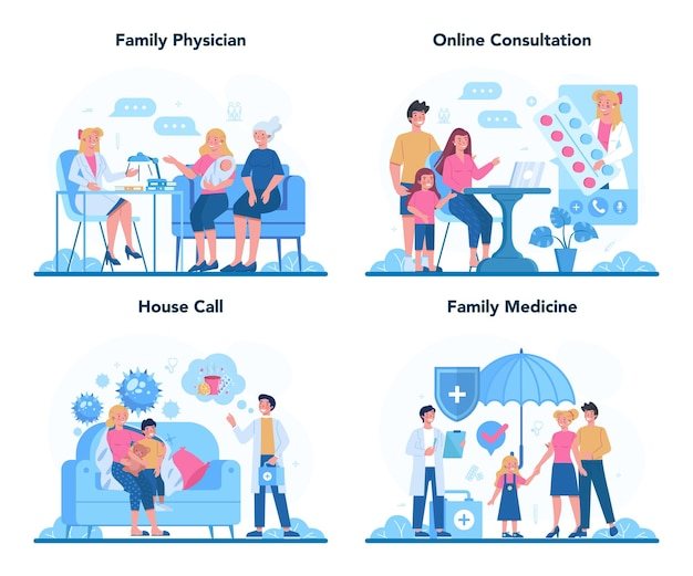 Family doctor and general healthcare concept set. idea of doctor taking care about patient health. medical treatment and recovery. illustration in cartoon style
