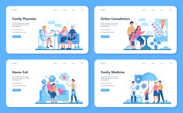 Family doctor and general healthcare web banner or landing page set.