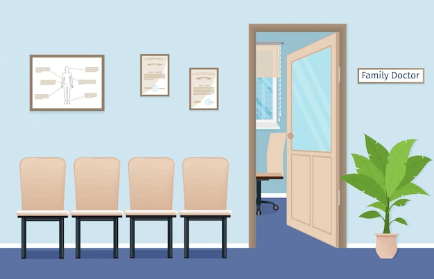 Family doctor's consultation office in private medical clinic. waiting room in the hospital.