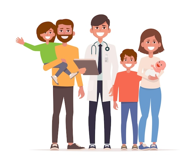 Family doctor stand with family, mom dad and children.