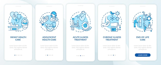 かかりつけ医は、コンセプトのある青いオンボーディングモバイルアプリページ画面をサポートしています。医学のチュートリアル5ステップのグラフィックの説明。線形カラーイラスト付きのui、ux、guiテンプレート