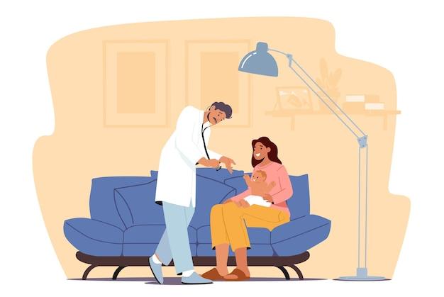 かかりつけの医師が診察のために赤ちゃんを訪問し、小児科医の医師のキャラクターが自宅でママと一緒に病気の子供を診察し、耳鼻咽喉科医の新生児科医が聴診器を予約します。漫画の人々のベクトル図