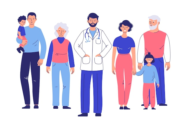 Family doctor with patients happy family mother father children grandfather