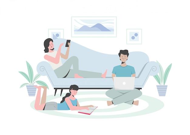 Семья делает деятельность на дому, читает книгу, работает на ноутбуке, в чате на мобильном телефоне. плоская иллюстрация.