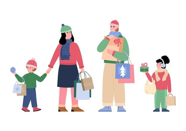 一緒にクリスマスの買い物をしている家族漫画ベクトルイラスト分離