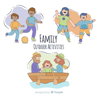 Family doing outdoor activities