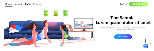 Family doing stretching exercises while watching online video training program healthy lifestyle concept full length copy space horizontal  illustration