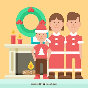 Семья, одетая на рождество