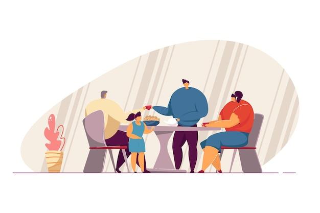 Семья пьет чай вместе плоские векторные иллюстрации. мать, отец, дедушка и ребенок едят печенье и разговаривают дома по выходным. близость, концепция родственников