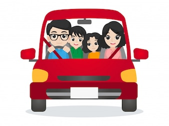 Family drive on car