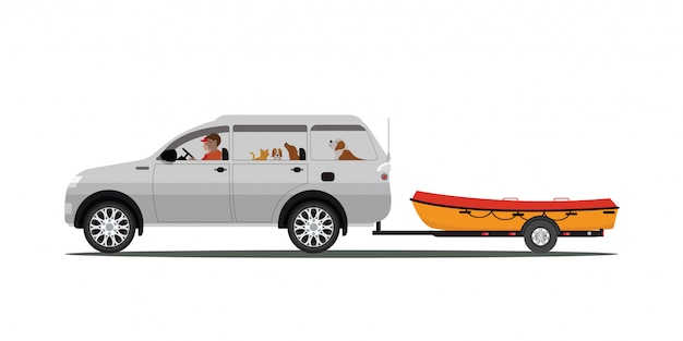 Family drives boat towing car isolated