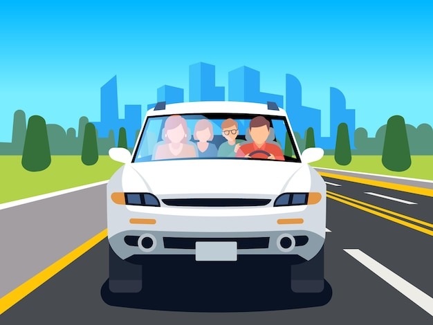 Family driving car. auto driver father man woman child travel people weekend road landscape nature leisure flat image