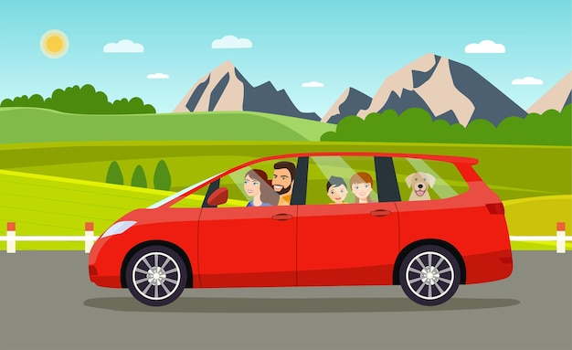 Семья за рулем в машине минивэн. векторная иллюстрация плоский стиль