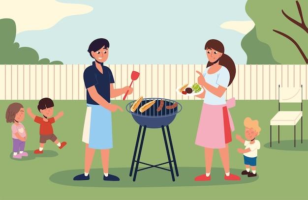 Семья ест на заднем дворе